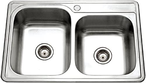 Houzer ISL-3322BS1-1 Glowtone Series Topmount Stainless Steel 1-hole 60 40 Double Bowl Kitchen Sink