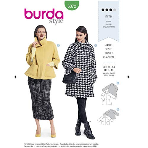 Burda Style Sewing Pattern B6372 - Misses' Jackets, A(8-10-12-14-16-18) ()