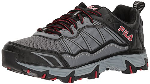 Cheap Fila Men's at Peake 19 Wide Trail Running Shoe, Castlerock/Black red, 7 US