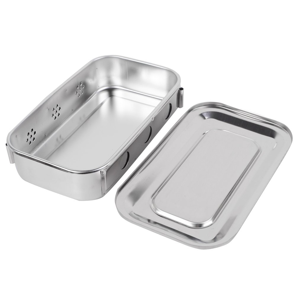 zinnor Medical Stainless Steel Sterilizer Box Square Dish with Lid Dental Instrument Tray Dental Medical Tray Lab Instrument Tool 8.26 x 4.72 x 1.96'' by Zinnor