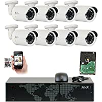 GW Security 8 Channel 5MP NVR 1536P HD IP Network POE Security System - 8 x 3MP (2048 x 1536) Weatherproof Bullet Cameras