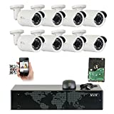GW Security 8 Channel 5MP NVR 1920P IP Camera Network POE Video Security System – Eight 5.0 Megapixel (2592 x 1920) Weatherproof Bullet Cameras, Quick QR Code Easy Setup, Pre-installed 2TB Hard Drive