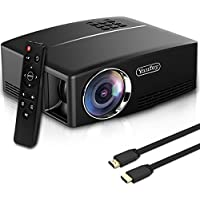 Yaufey 2200 Lumens Projector, Smart Phone Projector , Efficiency Home Cinema Projector Support HDMI 1080P USB VGA AV, Projector Computer for Laptop TV Games iPhone Android Videos with Free HDMI Cable