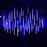 30CM 10 Tube LED Meteor Shower Rain Light 360 LED Icicle Snow Falling Raindrop Cascading Lights for Wedding Party Holiday Christmas Tree (30CM / 11.8Inch, Blue)