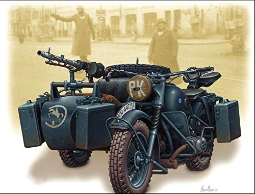 GERMAN MOTORCYCLE WWII BMW R75 1/35 MASTER BOX 3528 -