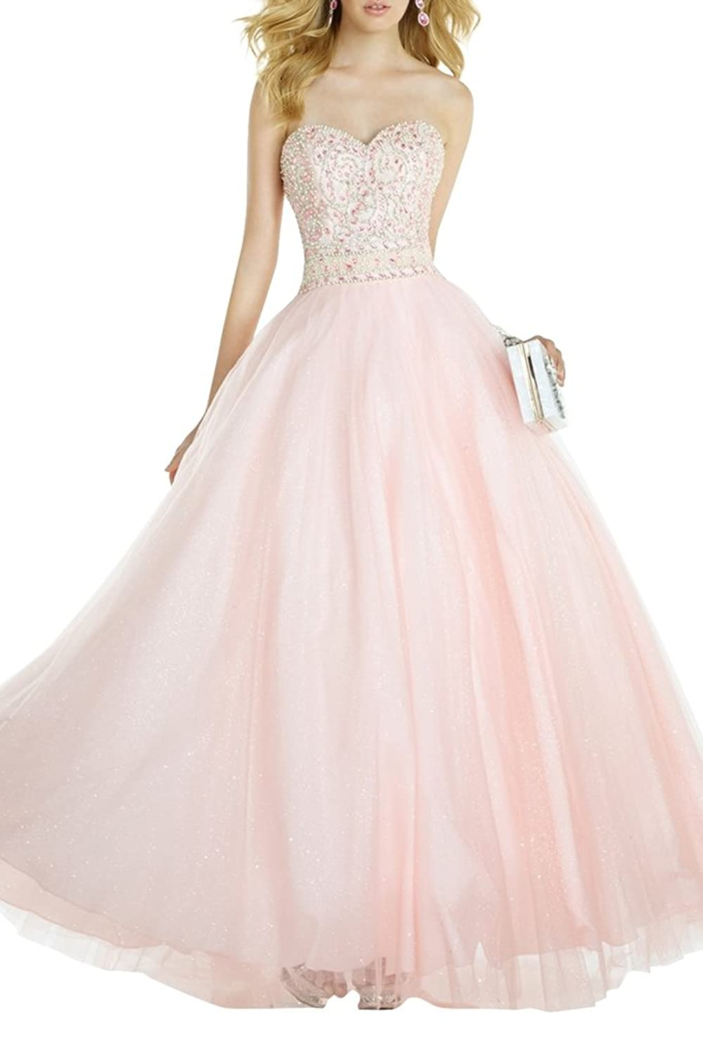 Charmant Damen Romantisch Hell Rosa Stickreien Steine Prinzess Abendkleider Abiballkleider Abschlussballkleider Prinzess
