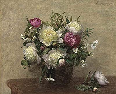 Peonies in Vase By Henri Fantin-Latour. 100% Hand Painted. Oil On Canvas. Reproduction. (Unframed and Unstretched).
