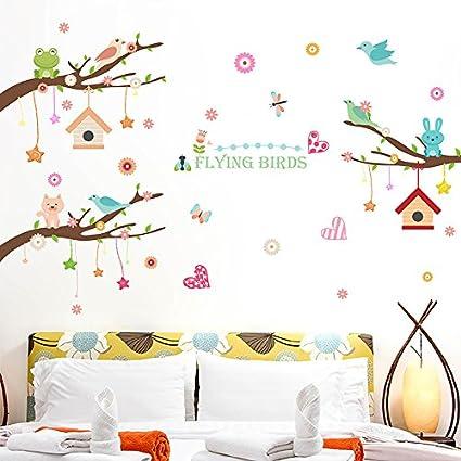 Amazon.com: SDGSDD Cartoon Tree Bird Party Wall Sticker ...