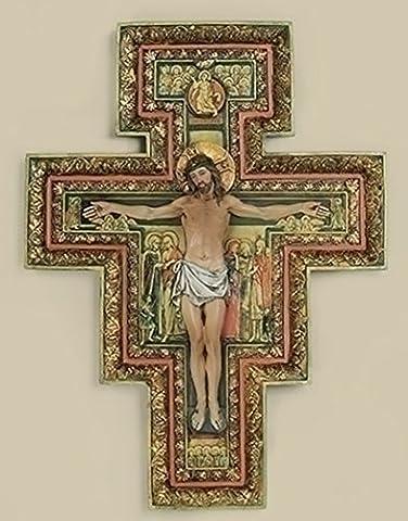 Franciscan Icon San Damiano Resin Wall Cross Crucifix, 18 Inch - Franciscans San Damiano