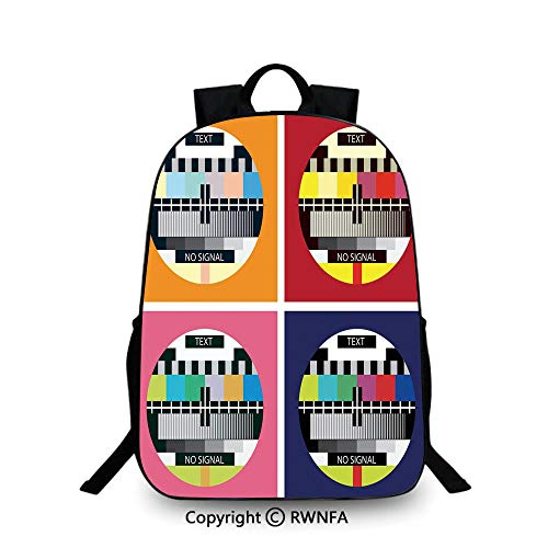 Backpack for Kids,Television Radio Channel Signal Digital Sign in Four Collage Artwork Image School Backpacks For boys Multicolor