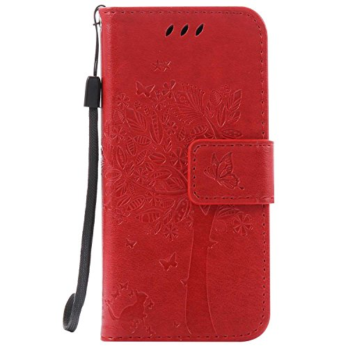 iPod Touch 5th / 6th Generation Wallet Case, UNEXTATI Leather Flip Cover Case with Kickstand Feature for Apple iPod Touch 5th / 6th Generation (Red #6)