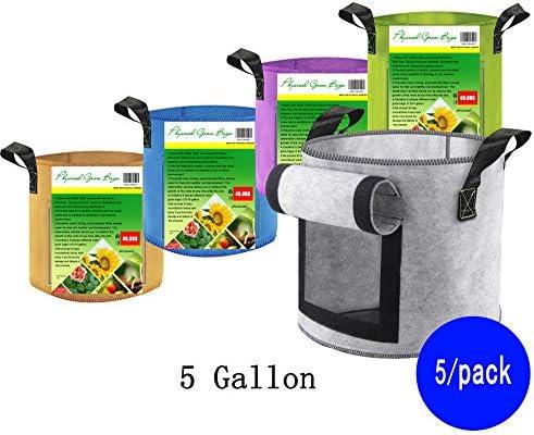 PhysCool 5 Color 5-10 Gallon Set Premium Felt Plant Grow Bags, Super Strong Fabric with Handles Observation Window Breathable Smart Garden Planter