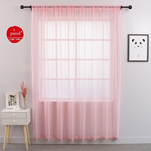 Cheap  KEQIAOSUOCAI Pink Window Sheer Voile Rod Pocket Curtains One Panel for Sliding..