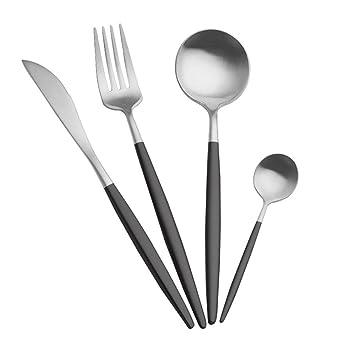 Cubiertos de Acero Inoxidable,niceEshop(TM) 1 Tenedor, 1 Cuchillo y 2 Cucharas ,Negro y Plata: Amazon.es: Hogar