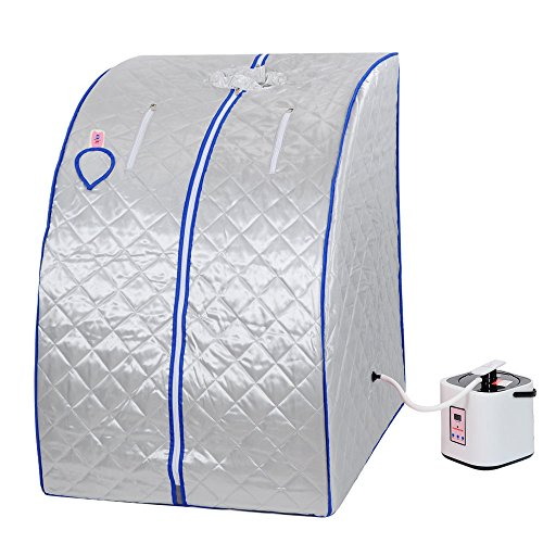 Silver 2L Portable Home Steam Sauna Spa Slimming Full Body Detox Therapy Loss Weight