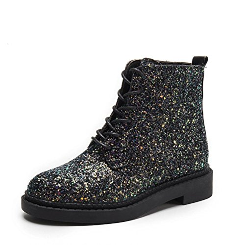 TOPUNDER Women Ankle Booties Shine Ladies Boots Casual Martin Shoes ()