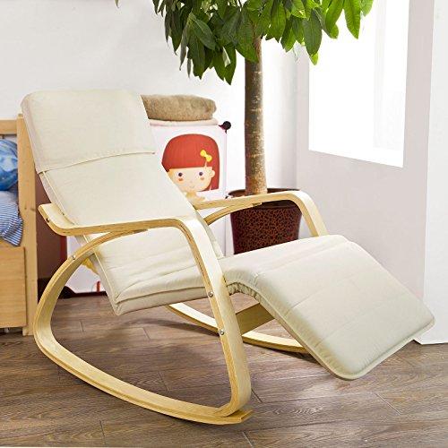 SoBuy Comfortable Relax Rocking Chair with Foot Rest Design, Lounge Chair, Recliners Poly-cotton Fabric Cushion ,FST16-W,White Color