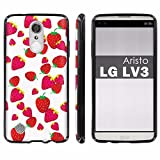 LG [Aristo] [LV3] [MS210] Soft Mold [Mobiflare] [Black] Thin Gel Protect Cover [Screen Protector] INCLUDED - [Strawberries] for LG [Aristo] [LV3]
