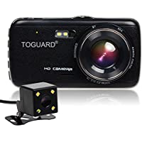 TOGUARD Dual Lens Dash Cam front and rear recording ATST, 4.0 IPS Screen,HD 1080P Car Dash Camera, Rearview Backup Camera,130 Degree Wide Angle, WDR, Loop Recording, G-sensor, Parking monitor