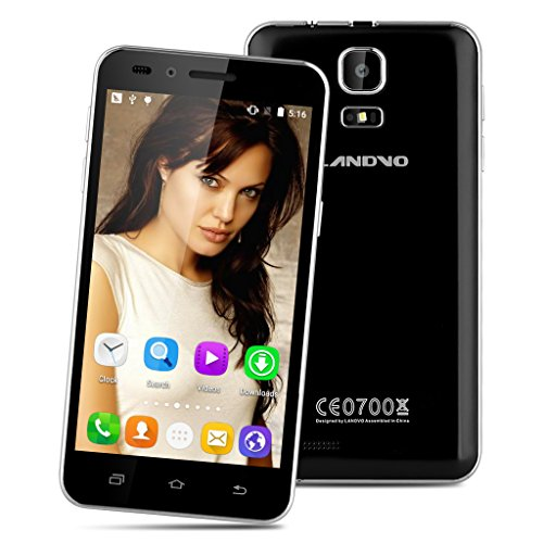 LANDVO V1 4.5 Zoll 3G Smartphone Android 5.1 Quad Core 1.3GHz Handy ohne Vertrag 4G ROM Dual Kamera Smart Wake Gesture Sensor GPS Schwarz