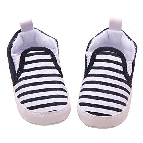 HP95(TM) Baby Unisex Cotton Blend Soft Sole Navy Stripe Cloth Shoes Walker (12~18 Month, Black)