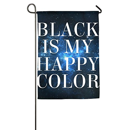 Buecoutes Black Is My Happy Color Home Family Party Flag 1218inch Hipster Welcomes The Banner Garden Flags