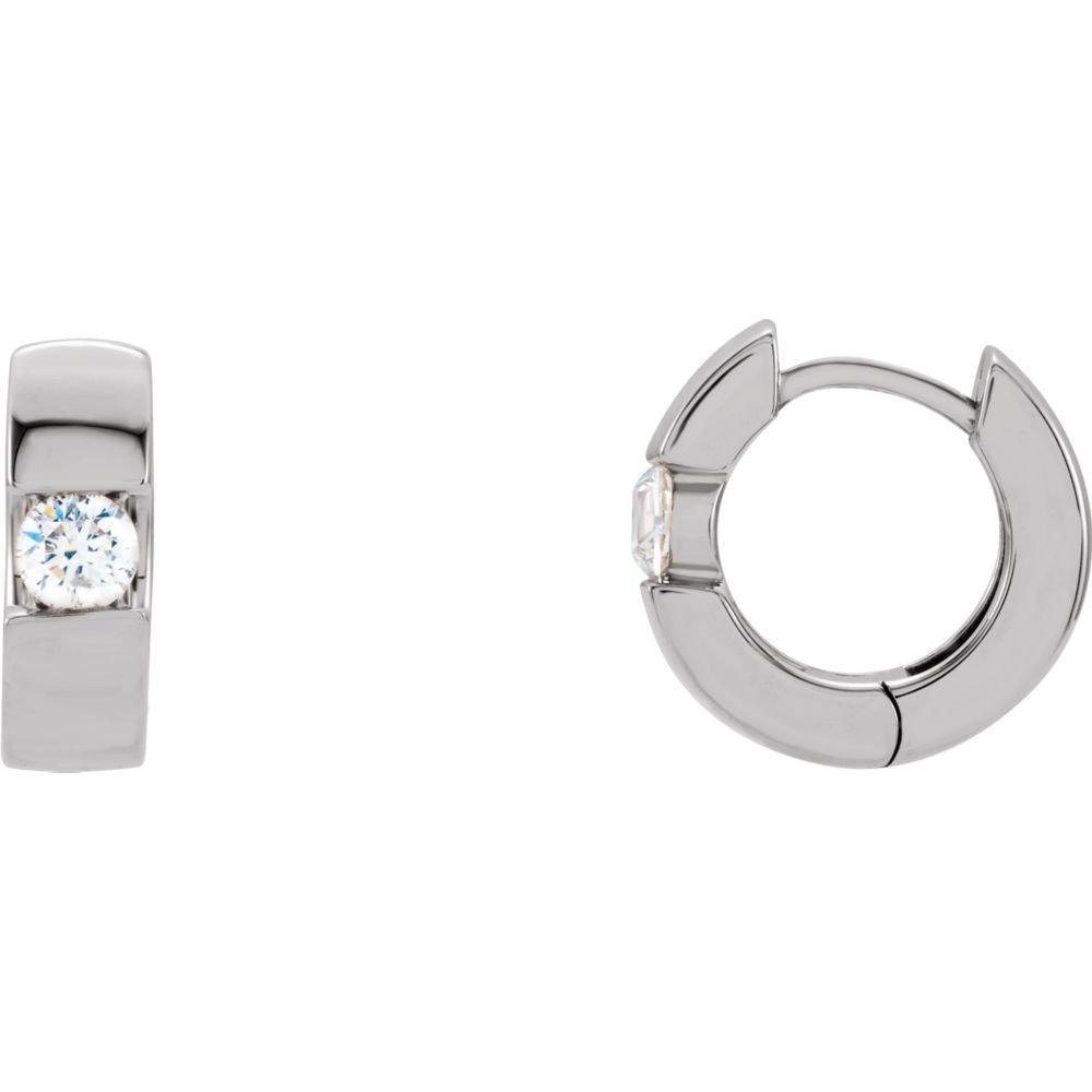 14K White 1//2 CTW Diamond Hinged Earrings