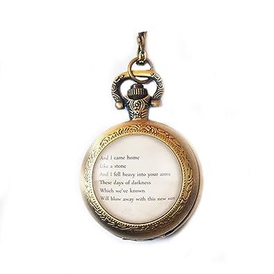 964e332ada015 Amazon.com: Personalized Song Lyric Pocket Watch Necklace Pendant ...