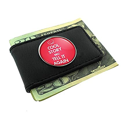 amazon com cool story bro tell it again money clip leather d 100
