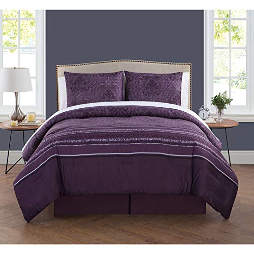 VCNY Home MARQUESA Bed in A Bag 8Piece Set W, King Comforter, Plum