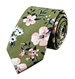 Men Kid Pink Elegant Floral Printed Necktie Army Green Spring Cotton Chinese Tie