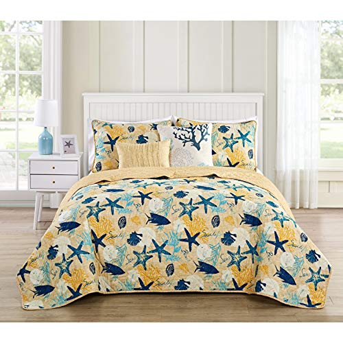 MISC Yellow Blue Beach Theme Bedding Queen Quilt Set Fish Pattern Starfish Tropical Theme Sea Shell Coral Reef Themed, Polyester ()