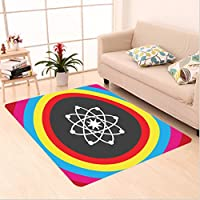 Nalahome Custom carpet e Decor Atom Model with Colorful Circles Molecule Chemistry Biology Physics Lab Orbit Multicolor area rugs for Living Dining Room Bedroom Hallway Office Carpet (22x36)