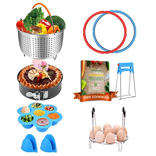 Instant Pot Accessories 8 qt only Compatible with Instant Pot 8 quart - Pressure Cooker Accessories with Recipe Cookbook, Steamer Basket, Sealing Rings, Egg Rack, Egg Bites Mold, Dish Clip, Oven Mitts