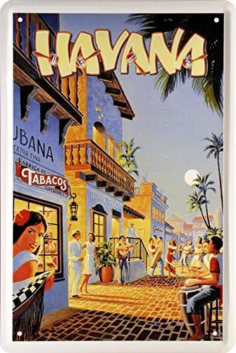 Night Life In Havana Cuba Ron real Caribe Flair 20 x 30 decorativo diseño 1458