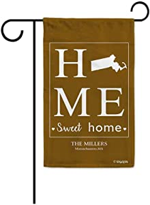 BAGEYOU Home Sweet Home Massachusetts Garden Flag Golden Brown Personalized Yard Banner Housewarming Gifts 12.5X18 Inch Print Both Sides