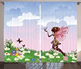 Ambesonne Teen Girls Decor Collection, Celestial Fairy on a Flower Meadow Clouds Wildflowers Wings Decorative Image, Living Room Bedroom Curtain 2 Panels Set, 108 X 90 Inches, Blue Green White Review