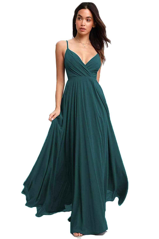 Nicefashion Womens V-Neck Chiffon Bridesmiad Dresses A-Line Adjustable Spaghetti Strap Pleats Evening Gowns