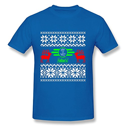 Men's Fall Out 4 Game Christmas Logo T Shirts Trendy Size L RoyalBlue