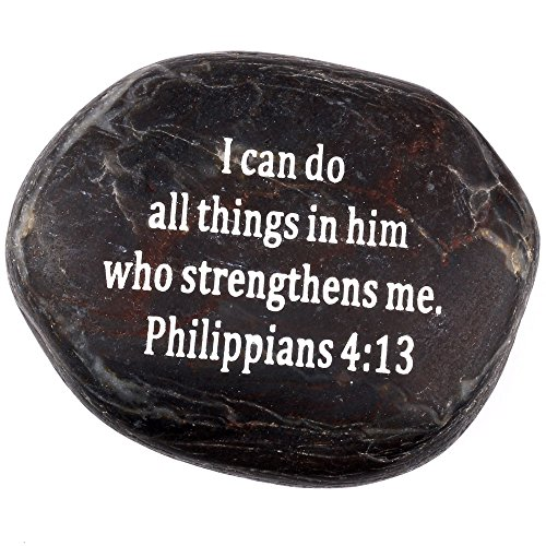 Scripture Stone (Holy Land Market Engraved Inspirational Scripture Biblical Black Stones Collection - Stone IV : Philippians 4:13 :