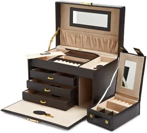 WOLF 280002 Heritage Large Jewelry Case with 3 Drawers and Travel Case, Black