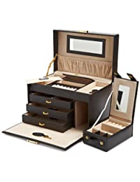Wolf Designs 280002 Heritage Black Large Jewelry Case with Three Drawers Jewelry-Box