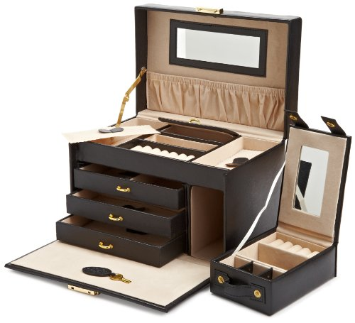Amazon Lightning Deal 57% claimed: Wolf Designs 280002 Heritage Black Large Jewelry Case with Three Drawers Jewelry-Box