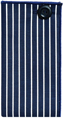 Navy Blue & White Stripe w/ Navy Button Men's Pocket Square by The Detailed Male by The Detailed Male (Image #4)