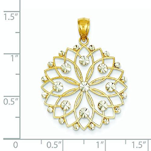 14 carats et Rhodium taille diamant pendentif fleur-Dimensions 34,5 x 26,5 mm-JewelryWeb