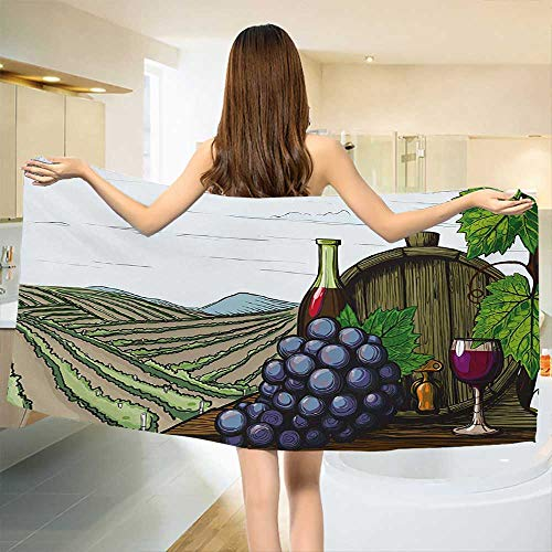 Chaneyhouse Wine,Baby Bath Towel,Landscape with Views of Vineyards Grapes Leaves Drink Barrel Agriculture Field Farm,Print Wrap Towels,Multicolor Size: W 10