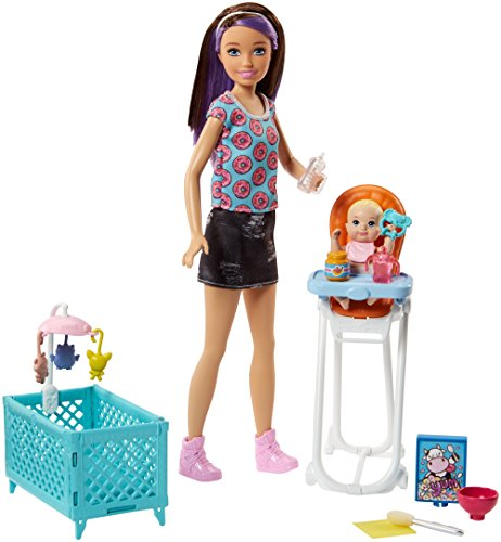 Barbie Skipper Babysitters Inc. Doll and Feeding Playset (Crib Doll 4 Piece)