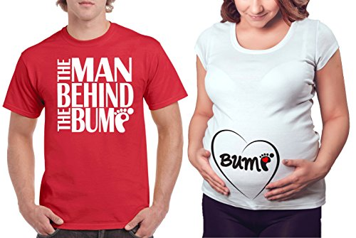 Matching Maternity Couple Shirts - The Man Behind the Bump & Belly Bump T shirt - Cute Pregnancy Couples Clothes - His and Hers Funny Pregnant Tees & (Couples Outfit)