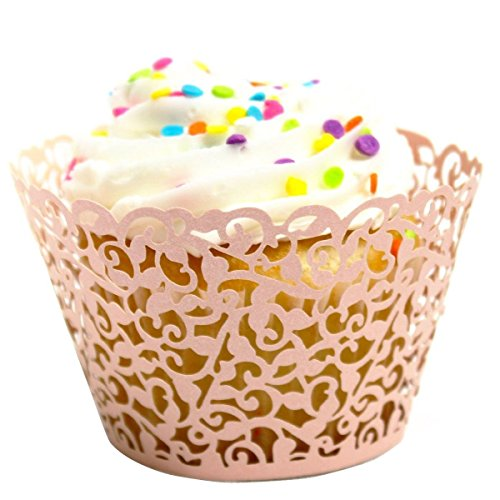 LEFV™ 24pcs Cupcake Wrapper Filigree Little Vine Lace Laser Cut Liner Baking Cup Muffin Case Trays Wraps Wedding Birthday Party Decoration Pink by LEFV (Image #2)