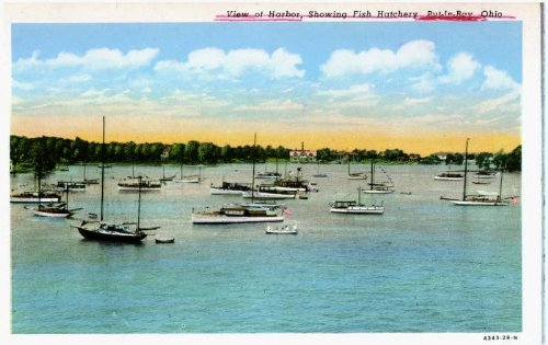 Photo Reprint View of Harbor, Showing Fish Hatchery, Put-In-Bay, Ohio 1921-1930